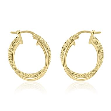 18ct Yellow Gold Crossover Hoop Earrings 18mm thumbnail