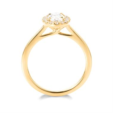 18ct Yellow Gold Oval Shape 0.90ct Diamond Halo Ring  thumbnail