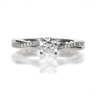 Platinum Crossover 0.66ct Diamond Solitaire Ring  thumbnail