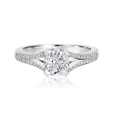 Platinum Split Shoulder Detail Cushion Cut Diamond Solitaire Engagement Ring 1.39ct thumbnail