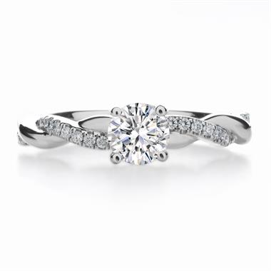 Platinum Double Row Diamond Plaited Solitaire Ring thumbnail