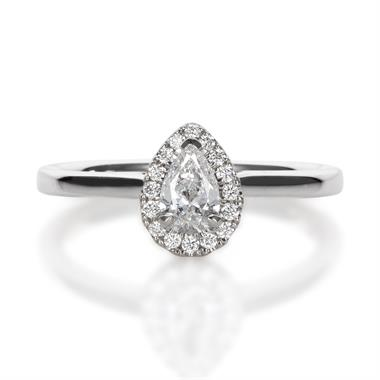 Platinum Pear Shape Diamond Halo Engagement Ring 0.40ct thumbnail