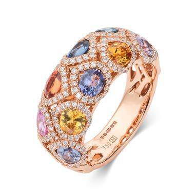 Samba 18ct Rose Gold Dome Shaped Multi Sapphire Ring thumbnail
