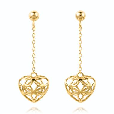 18ct Yellow Gold Heart Design Drop Earrings thumbnail
