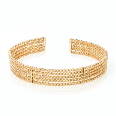 18ct Yellow Gold Sparkle Bead Bangle thumbnail
