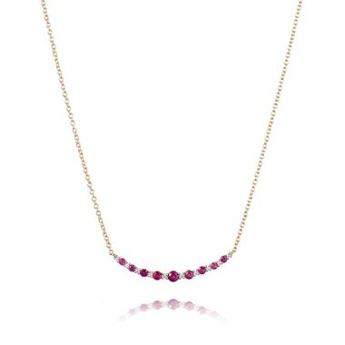 18ct Yellow Gold Ruby and Diamond Curved Necklace thumbnail