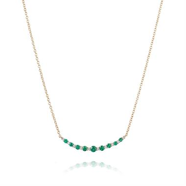 18ct Yellow Gold Emerald and Diamond Curved Necklace thumbnail