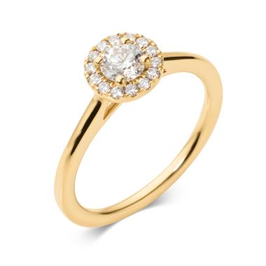 18ct Yellow Gold Diamond Round Halo Engagement Ring 0.48ct thumbnail