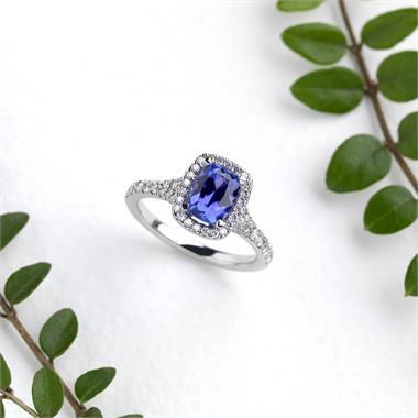 Platinum Cushion Cut Tanzanite and Diamond Halo Dress Ring thumbnail