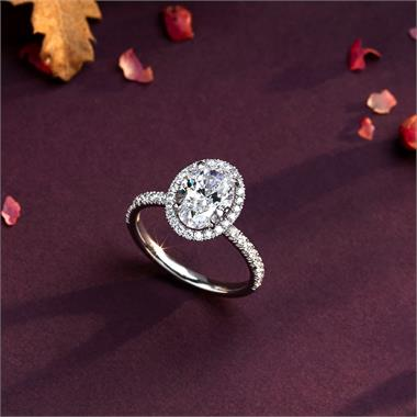 Platinum Oval Diamond Halo Engagement Ring 2.52ct thumbnail