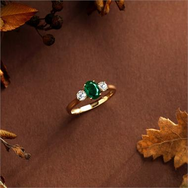 18ct Yellow Gold Oval Emerald and Diamond Three Stone Engagement Ring thumbnail