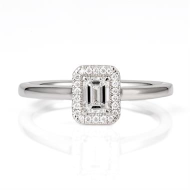 Platinum Vintage Inspired Emerald Cut Diamond Ring thumbnail
