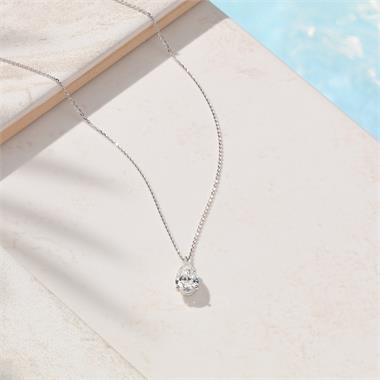18ct White Gold Pear Shape Diamond Solitaire Necklace 1.03ct thumbnail