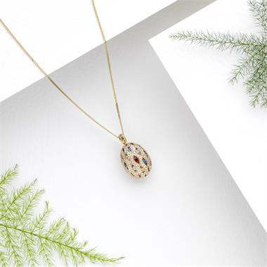 Samba 18ct Yellow Gold Cocoon Design Rainbow Sapphire and Diamond Pendant thumbnail