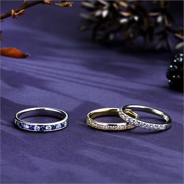 18ct White Gold Sapphire and Diamond Half Eternity Ring thumbnail