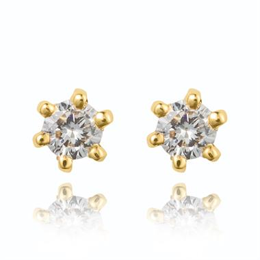 18ct Yellow Gold Classic 0.10ct Diamond Stud Earrings thumbnail