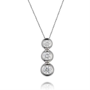 18ct White Gold Three Diamond Necklace thumbnail