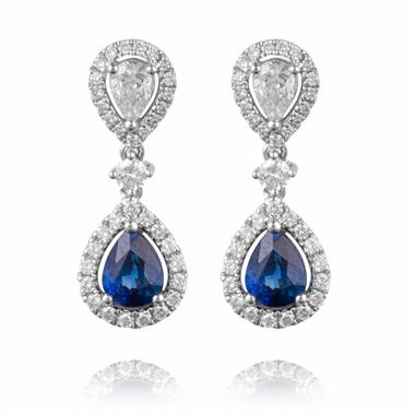 18ct White Gold Pear Shape Sapphire and Diamond Drop Earrings thumbnail