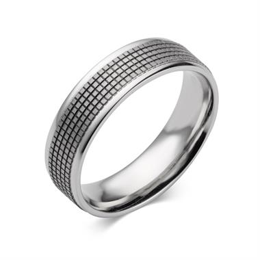 Palladium Grid Detail Wedding Ring thumbnail
