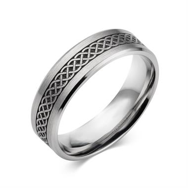 Palladium Celtic Weave Patterned Band thumbnail