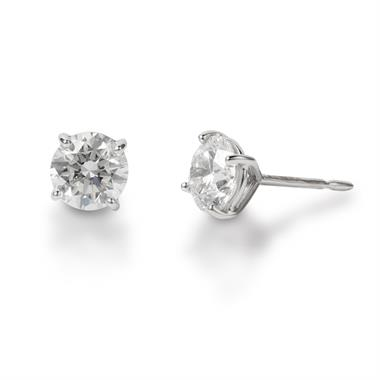 18ct White Gold Classic Design Diamond Solitaire Stud Earrings 2.00ct thumbnail
