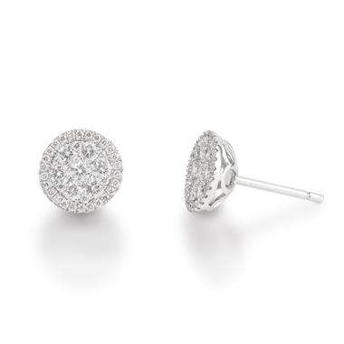 18ct White Gold Illusion Detail Diamond Cluster Stud Earrings 0.75ct thumbnail