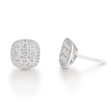 18ct White Gold Diamond Cushion Cut Illusion Earrings thumbnail