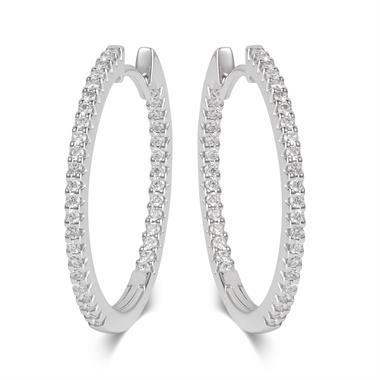 18ct White Gold Medium Diamond Hoop Earrings thumbnail