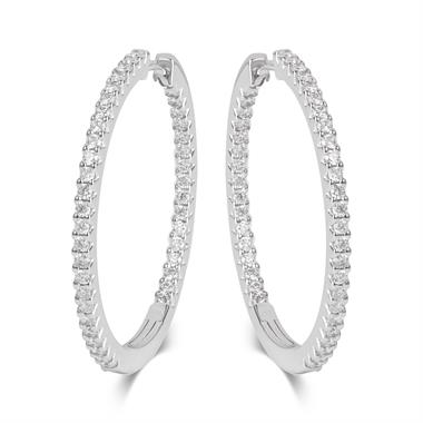 18ct White Gold Diamond Hoop Earrings 30mm thumbnail