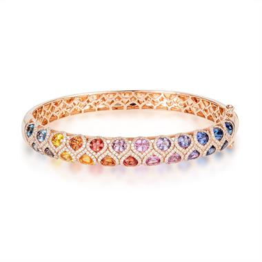 Samba 18ct Rose Gold Rainbow Sapphire and Diamond Bangle thumbnail