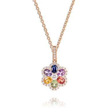Samba 18ct Rose Gold Rainbow Sapphire and Diamond Pendant thumbnail