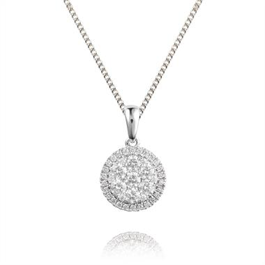 18ct White Gold Illusion Detail Diamond Pendant 0.50ct thumbnail