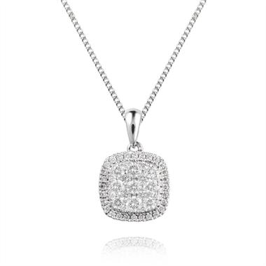 18ct White Gold Diamond Cushion Cut Illusion Pendant thumbnail