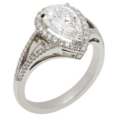 Platinum Split Shoulder Detail Pear Shape Diamond Halo Engagement Ring 1.68ct thumbnail
