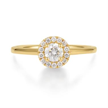 18ct Yellow Gold 0.48ct Diamond Halo Ring thumbnail