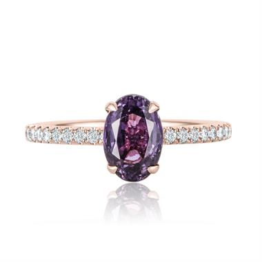 18ct Rose Gold Oval Violet Sapphire Solitaire Engagement Ring thumbnail