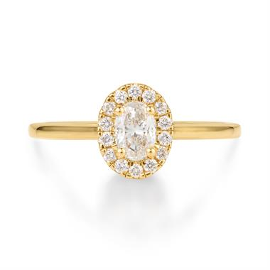 18ct Yellow Gold Oval Diamond Halo Engagement Ring 0.45ct thumbnail