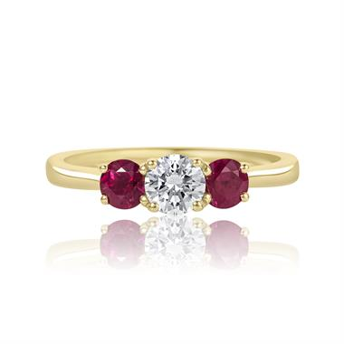 18ct Yellow Gold Diamond and Ruby Three Stone Engagement Ring thumbnail