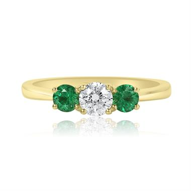 18ct Yellow Gold Diamond and Emerald Three Stone Engagement Ring thumbnail