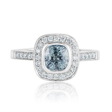 Platinum Blue-green Sapphire and Diamond Halo Engagement Ring thumbnail