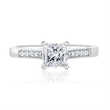 Platinum Princess Cut Diamond Solitaire Engagement Ring thumbnail
