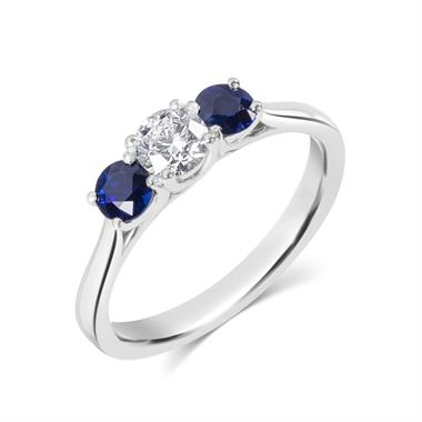 Platinum Diamond and Sapphire Three Stone Engagement Ring thumbnail