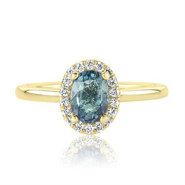 18ct Yellow Gold Oval Teal Sapphire and Diamond Halo Engagement Ring thumbnail
