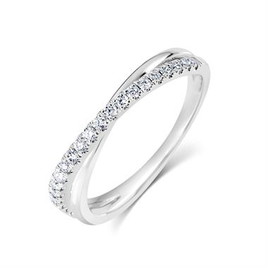 Platinum Crossover Design Diamond Dress Ring 0.20ct thumbnail