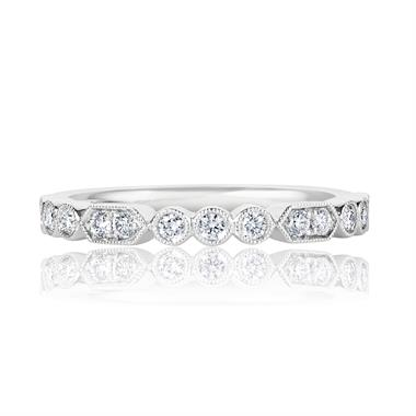 Platinum Vintage Style Diamond Half Eternity Ring 0.22ct thumbnail