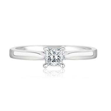 18ct White Gold Princess Cut Diamond Solitaire Engagement Ring 0.33ct thumbnail