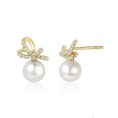 Isla 18ct Yellow Gold Bow Design Pearl and Diamond Drop Earrings thumbnail