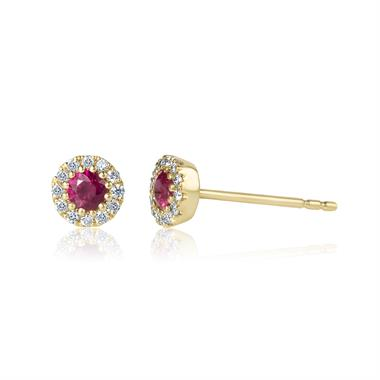 Camellia 18ct Yellow Gold Ruby and Diamond Halo Earrings thumbnail