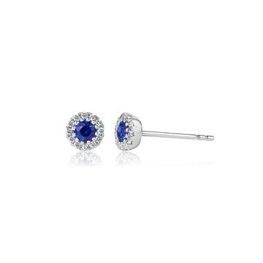Camellia 18ct White Gold Sapphire and Diamond Halo Earrings thumbnail