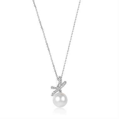 Isla 18ct White Gold Bow Design Pearl and Diamond Drop Pendant thumbnail